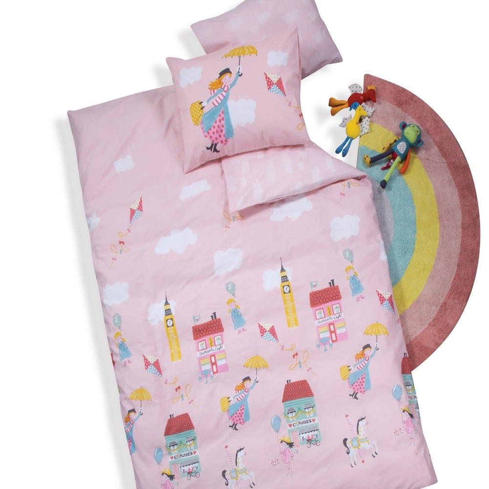 Σεντόνι Παιδικό Mary Poppins Σετ 3τμχ Pink Nef-Nef Μονό 160x260cm