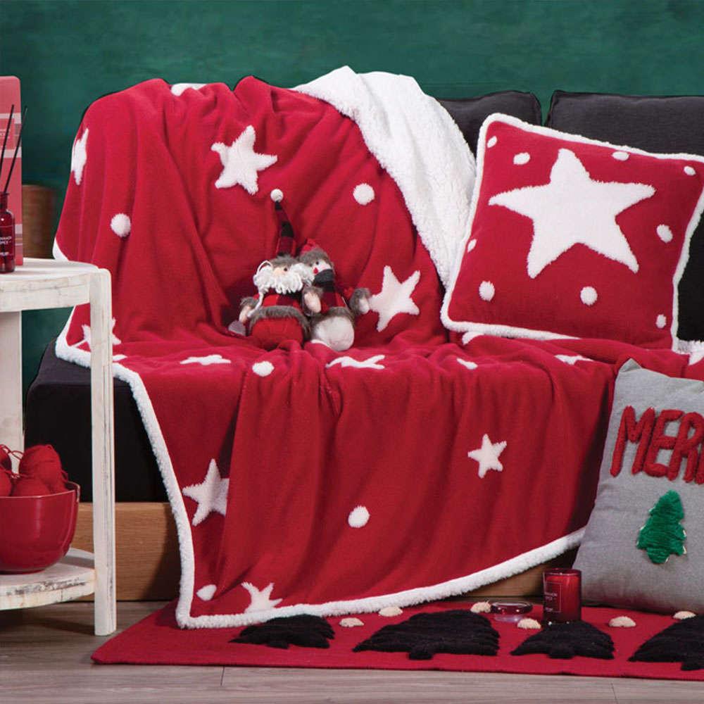 Κουβέρτα Καναπέ Χριστουγεννιάτικη Sherpa Sparkling Red Nef-Nef 150X180 130x170cm