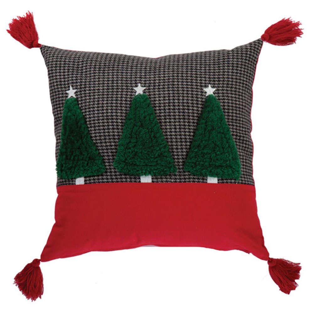 Μαξιλάρι Διακοσμητικό (Με Γέμιση) Χριστουγεννιάτικο Chrismas Trees Dark Grey Nef-Nef 45X45 45x45cm