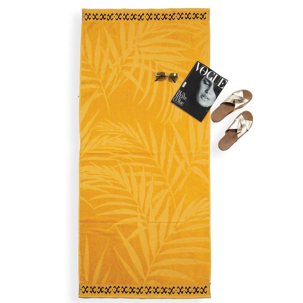Πετσέτα Θαλάσσης Palm Leaves Yellow Nef-Nef Θαλάσσης