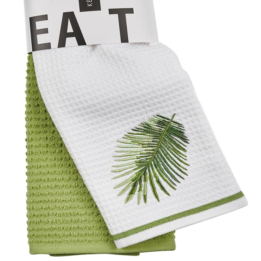 Πετσέτες Κουζίνας Σετ 2Τμχ. Cookies 1000 White-Green Kentia 40x60cm