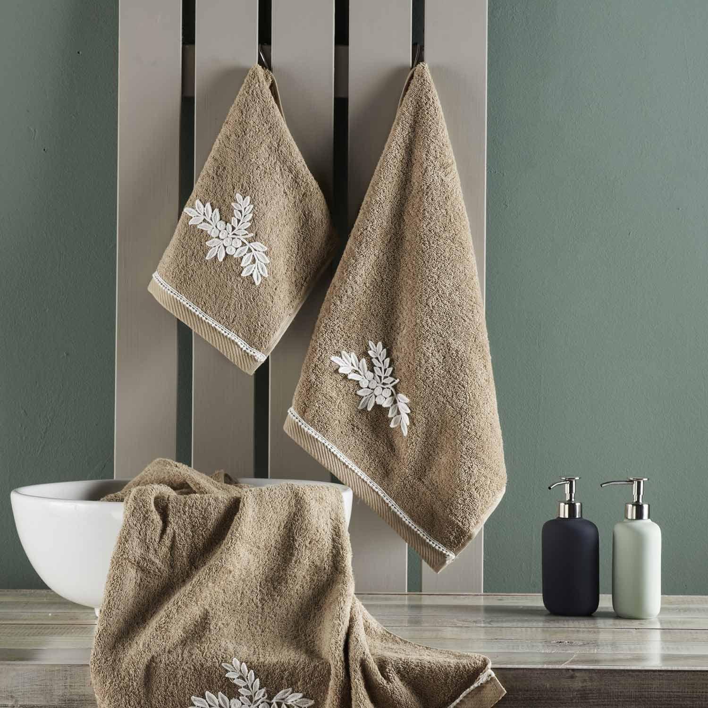 Πετσέτες Μπάνιου Με Δαντέλα Σετ Seden 26 Brown Kentia Σετ Πετσέτες 70x140cm