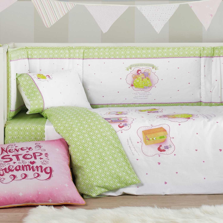 Παπλωματοθήκη Κούνιας Σετ 2 Τεμ. Fairy Tale 14 Pink Kentia 100x100cm