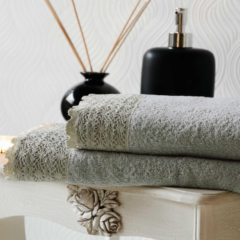 Πετσέτες Σετ 3 Τεμ. Crochet Grey Kentia Σετ Πετσέτες
