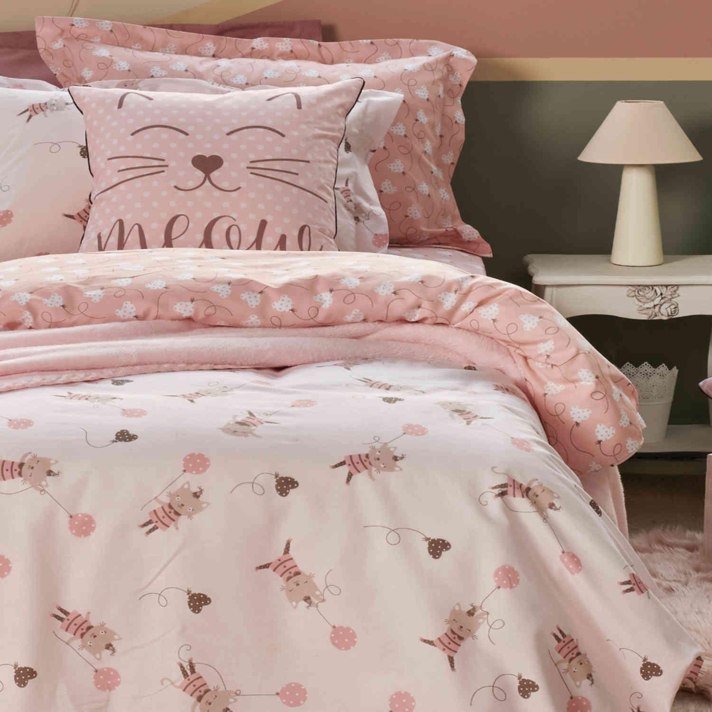 Σεντόνια Σετ Dalia White-Pink Kentia Μονό 160x255cm