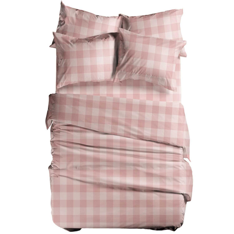 Σεντόνι Basic Plaid Pink Nef-Nef Υπέρδιπλo 240x270cm