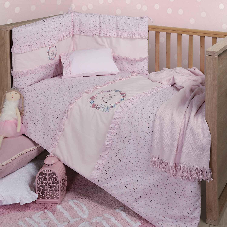 Σεντόνι Σετ 2τμχ Pretty Girl Pink Nef-Nef Λίκνου 70x120cm