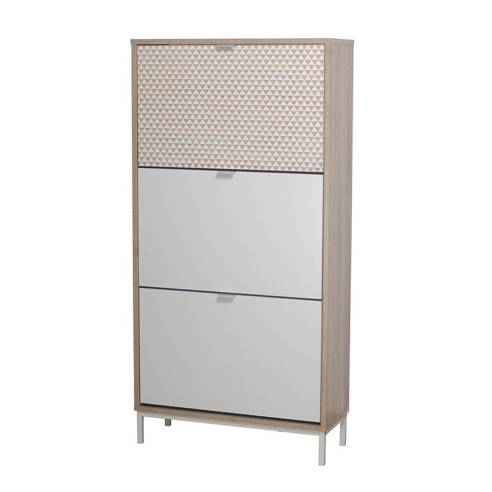 Παπουτσοθήκη Nak Sonoma White Με Pattern 60x23xH120cm 10-0016