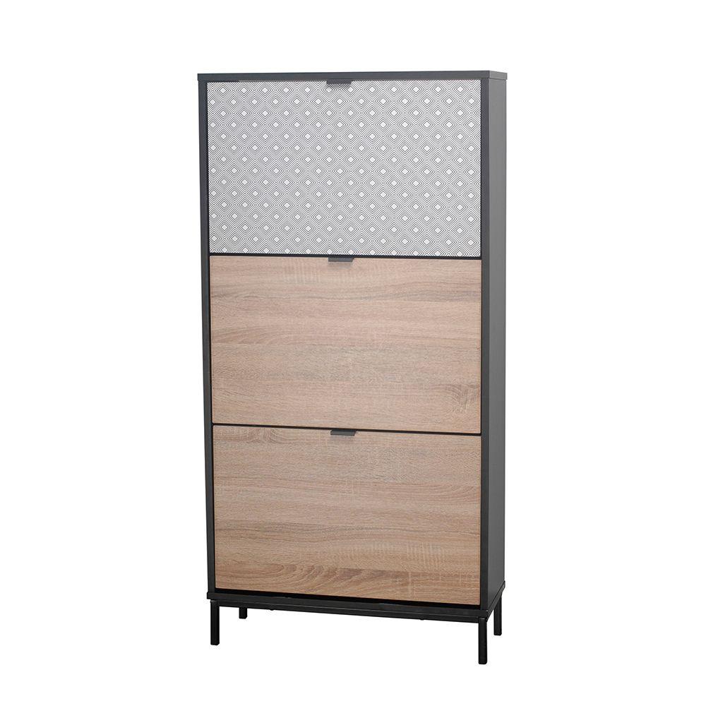 Παπουτσοθήκη Rombus Black Sonoma Με Pattern 60x23xH120cm 10-0015