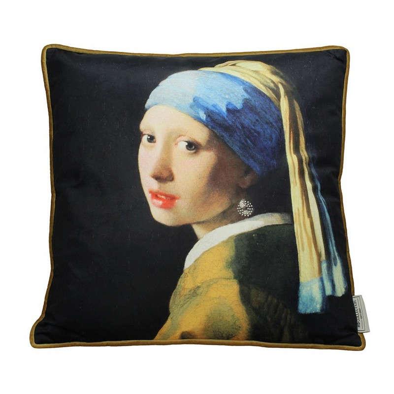 Μαξιλάρι Διακοσμητικό (Με Γέμιση) Βελούδινο Lady Pearl 06-3096 Black-Blue 45X45 Βελούδο