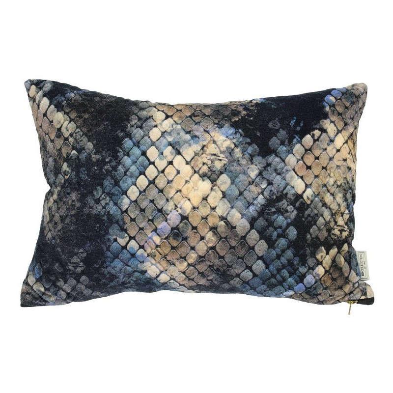 Μαξιλάρι Διακοσμητικό (Με Γέμιση) Βελούδινο Snake Skin 06-3072 Gold-Blue 40Χ60 Βελούδο