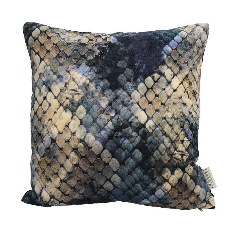 Μαξιλάρι Διακοσμητικό (Με Γέμιση) Βελούδινο Snake Skin 06-3071 Gold-Blue 45X45 Βελούδο