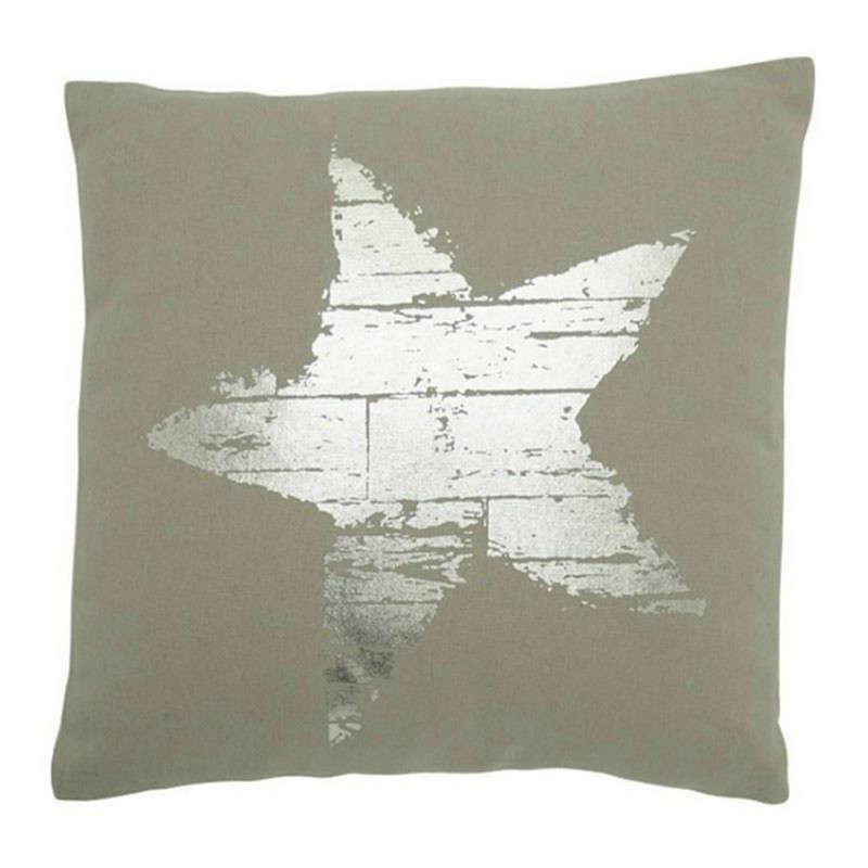Μαξιλάρι Διακοσμητικό (Με Γέμιση) Σχ. Αστέρι 06-0452 Silver-Beige 45X45 100% Polyester