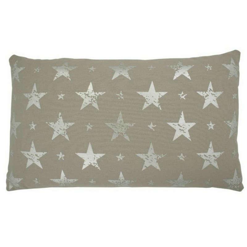 Μαξιλάρι Διακοσμητικό (Με Γέμιση) Σχ. Αστεράκια 06-0451 Silver-Beige 30Χ50 100% Polyester