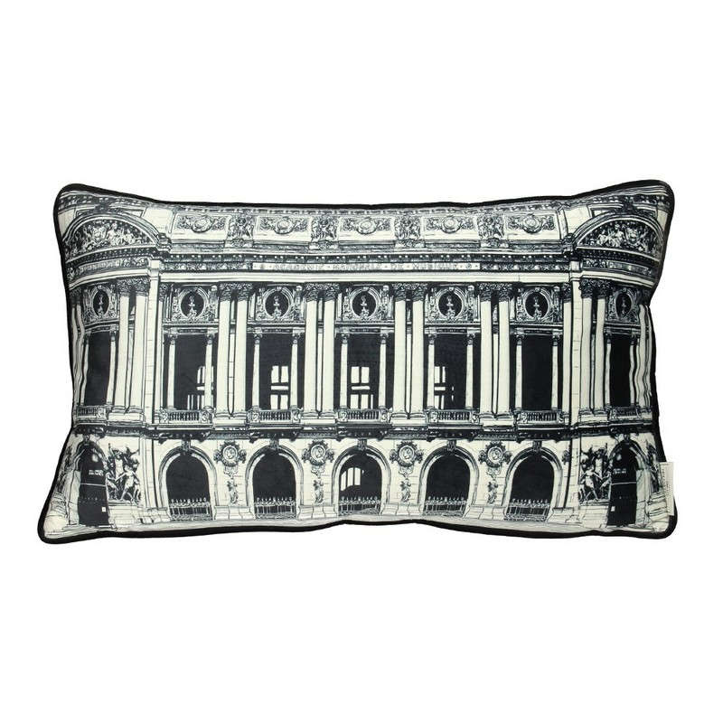 Μαξιλάρι Διακοσμητικό (Με Γέμιση) Βελούδινο Building 06-3060 White-Black 30Χ50 Βελούδο