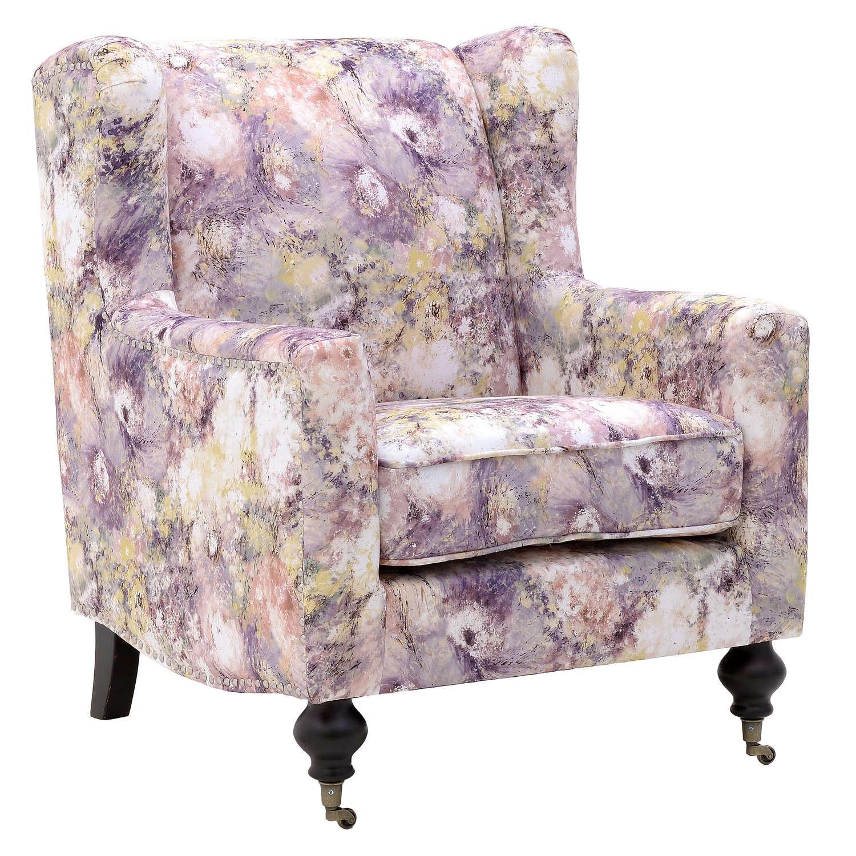 Μπερζέρα Floral Υφασμάτινη 3-50-177-0017 Pink 76×86,5×81,5-50 Inart