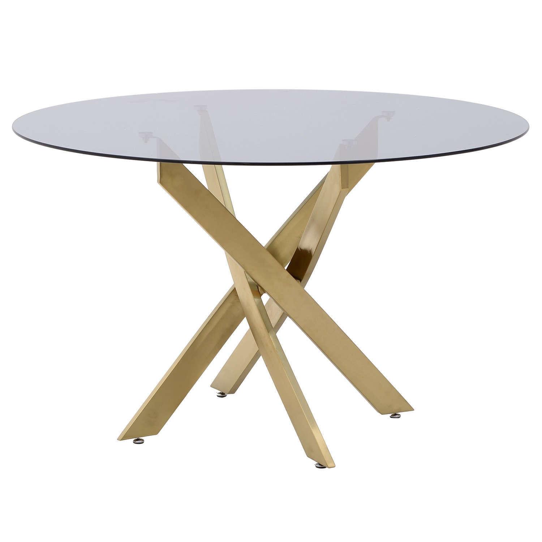 Τραπέζι Μεταλλικό-Γυάλινο 3-50-529-0001 Gold Δ120×75 Inart