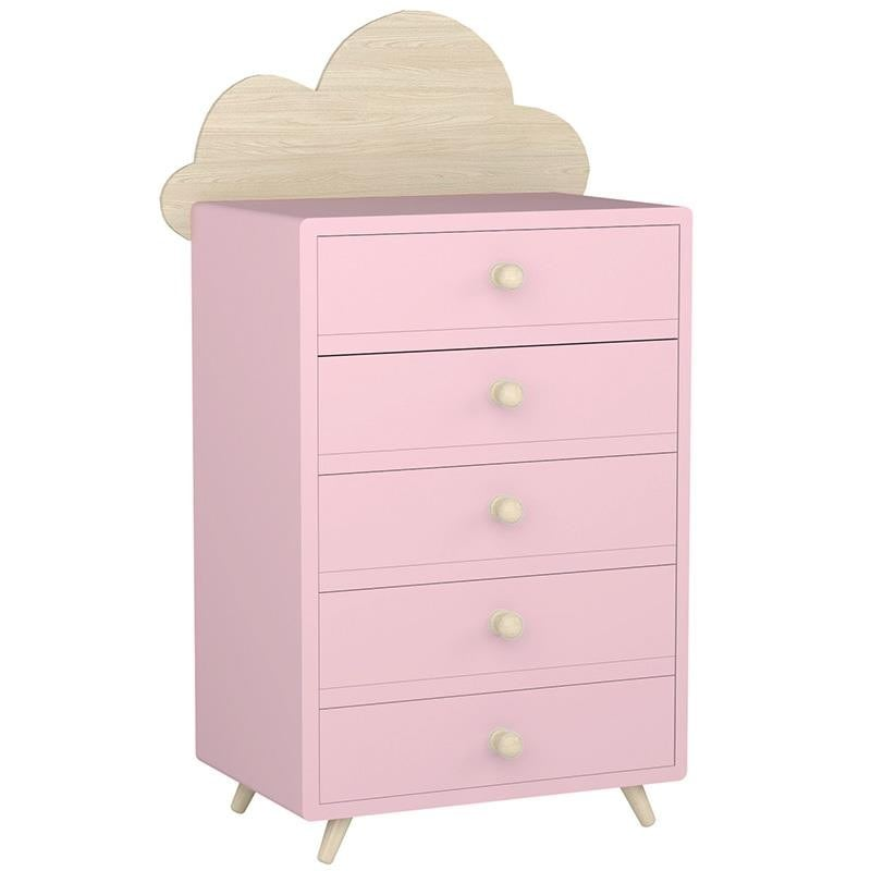 Συρταριέρα Παιδική Σύννεφο Ξύλινη 3-50-876-0009 Pink-Natural 50X32X121 Inart