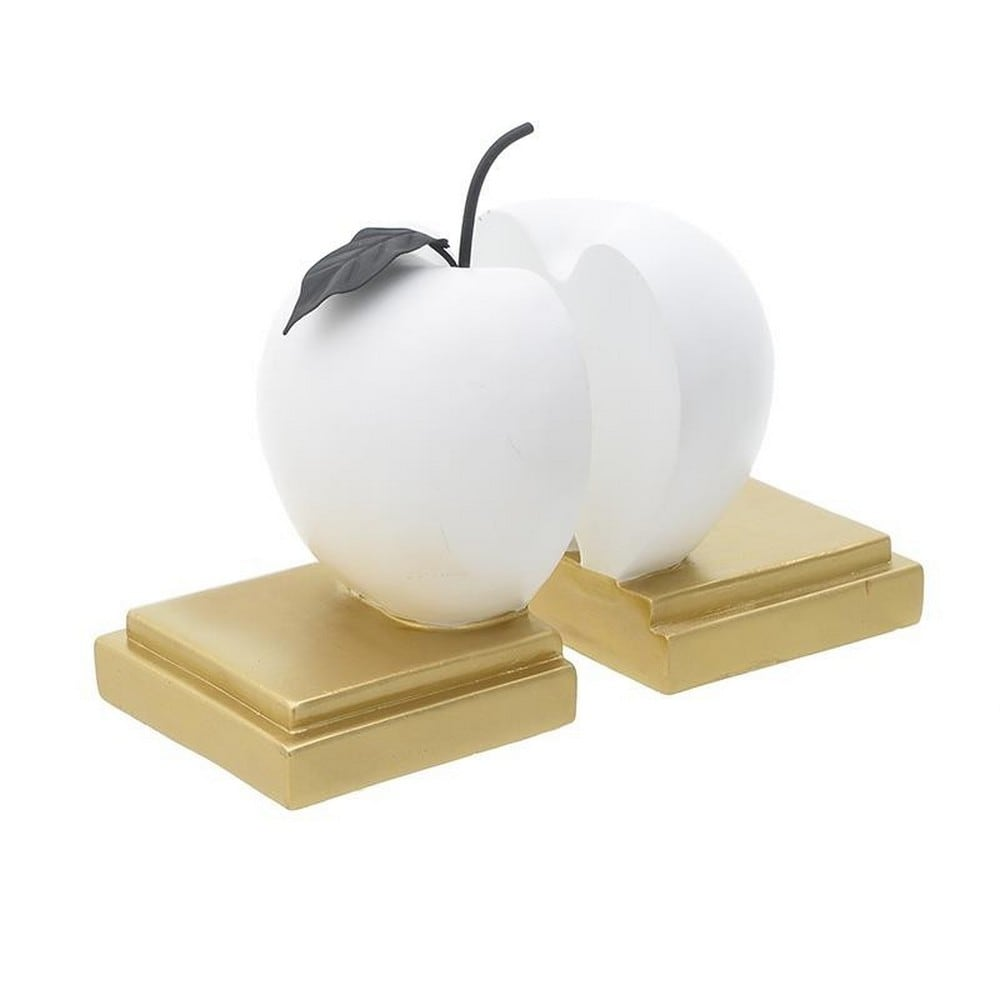Βιβλιοστάτης Σετ 2τμχ 3-70-178-0100 Μήλο 20Χ10Χ20 White-Gold Inart Polyresin
