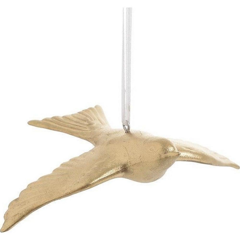 Διακοσμητικό Επιτοίχιο Χελιδόνι 3-70-860-0009 Gold 11,5Χ3.5X9.5 Inart Πορσελάνη