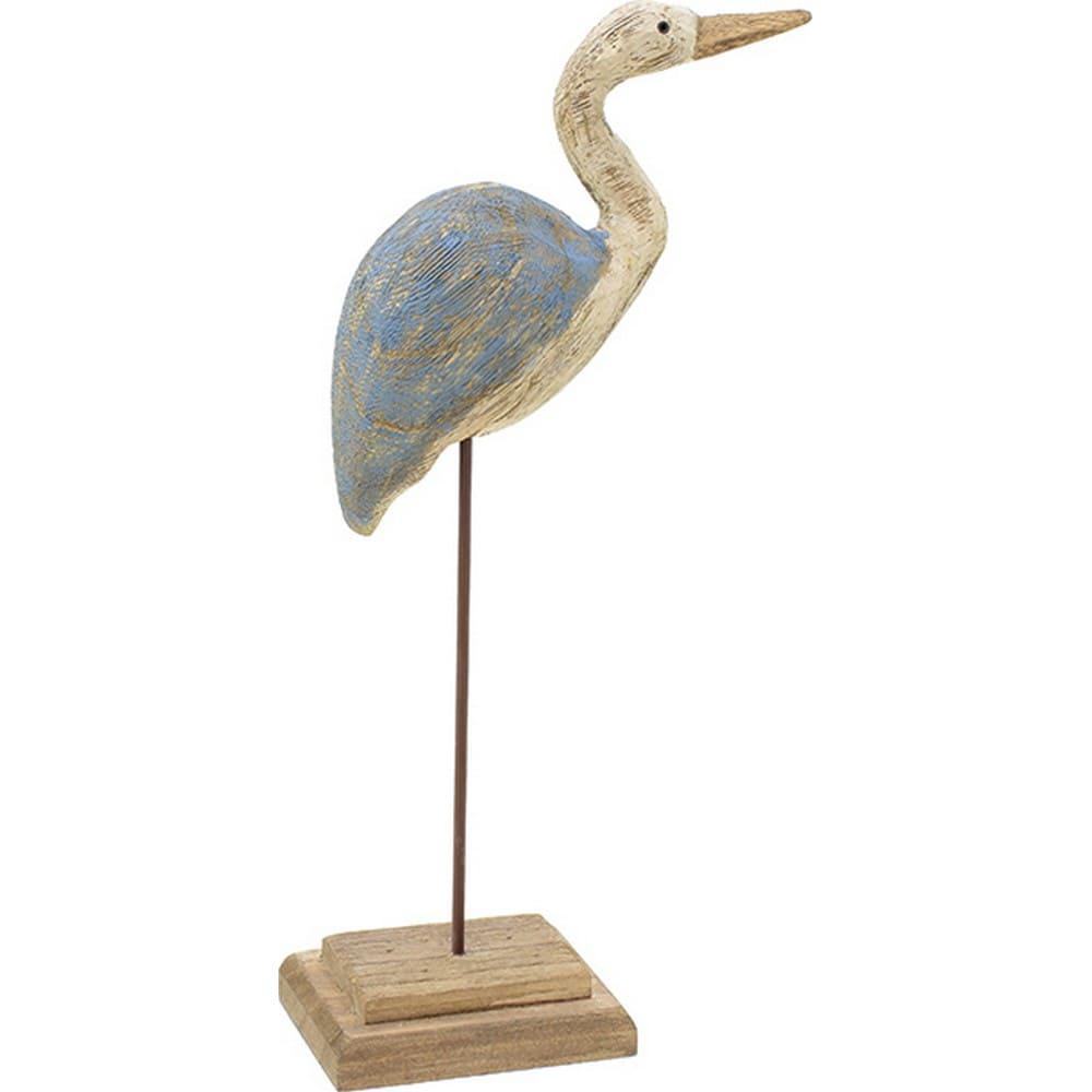 Διακοσμητικό Επιτραπέζιο 3-70-887-0092 Ερωδιός Natural-Blue 17Χ8Χ38 Inart Ξύλο
