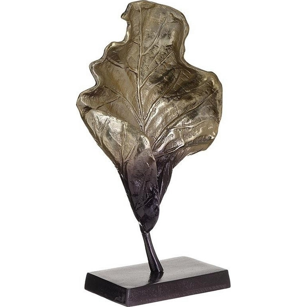 Διακοσμητικό Επιτραπέζιο 3-70-579-0045 Φύλλο Black-Gold 19X10X36 Inart Αλουμίνιο