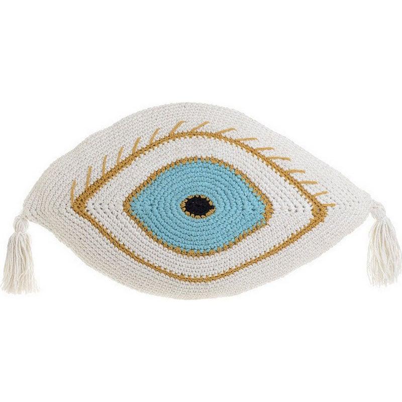 Μαξιλάρι Διακοσμητικό (Με Γέμιση) Μακραμέ Μάτι 3-40-826-0019 White-Blue Inart 30Χ50 Ύφασμα