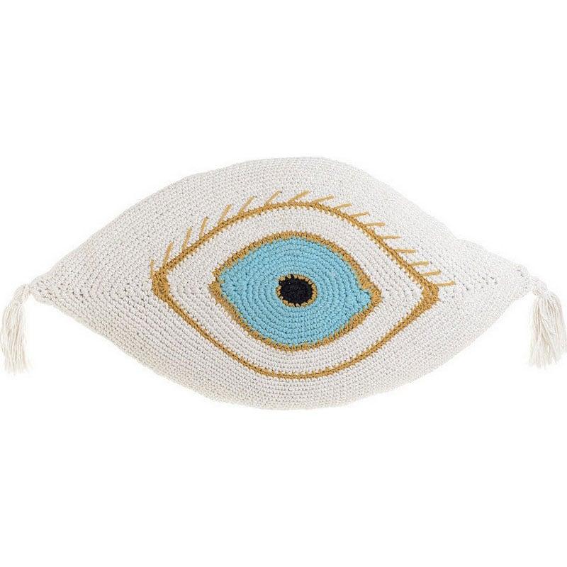 Μαξιλάρι Διακοσμητικό (Με Γέμιση) Μακραμέ Μάτι 3-40-826-0020 White-Blue Inart 40Χ60 Ύφασμα