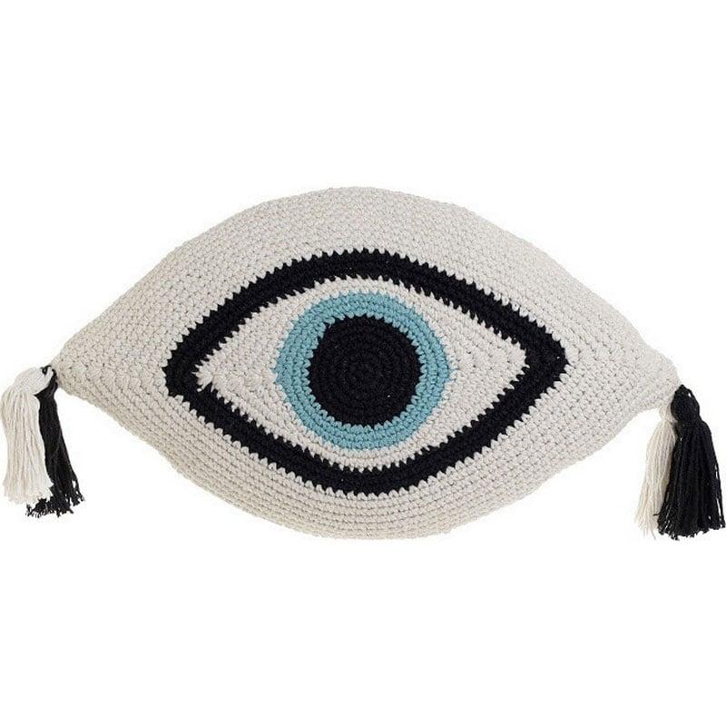 Μαξιλάρι Διακοσμητικό (Με Γέμιση) Μακραμέ Μάτι 3-40-826-0017 Black-White Inart 30Χ50 Ύφασμα