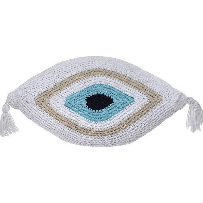 Μαξιλάρι Διακοσμητικό (Με Γέμιση) Μακραμέ Μάτι 3-40-826-0002 White-Beige Inart 40Χ60 Ύφασμα