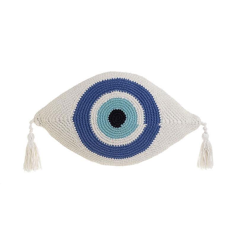 Μαξιλάρι Διακοσμητικό (Με Γέμιση) Μακραμέ Μάτι 3-40-826-0013 White-Blue Inart 30Χ50 Ύφασμα