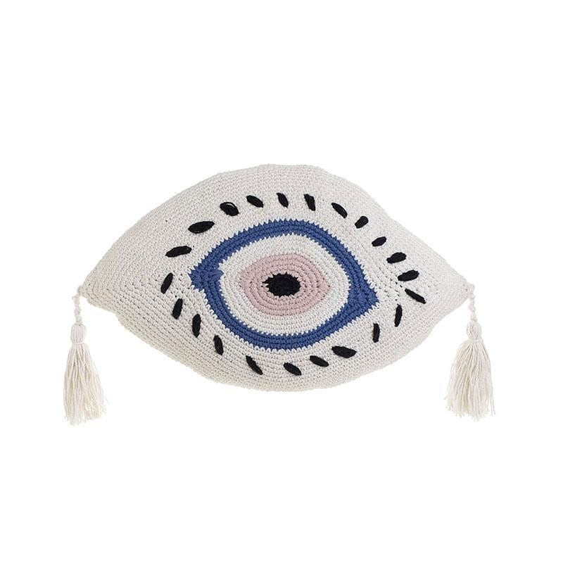 Μαξιλάρι Διακοσμητικό (Με Γέμιση) Μακραμέ Μάτι 3-40-826-0015 White-Blue Inart 30Χ50 Ύφασμα