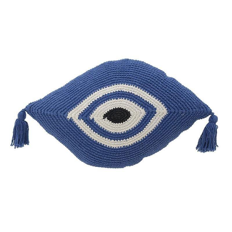 Διακοσμητικό Μαξιλάρι(Με Γέμιση) Μακραμέ Μάτι 3-40-826-0007 White-Blue Inart 30Χ50 Ύφασμα