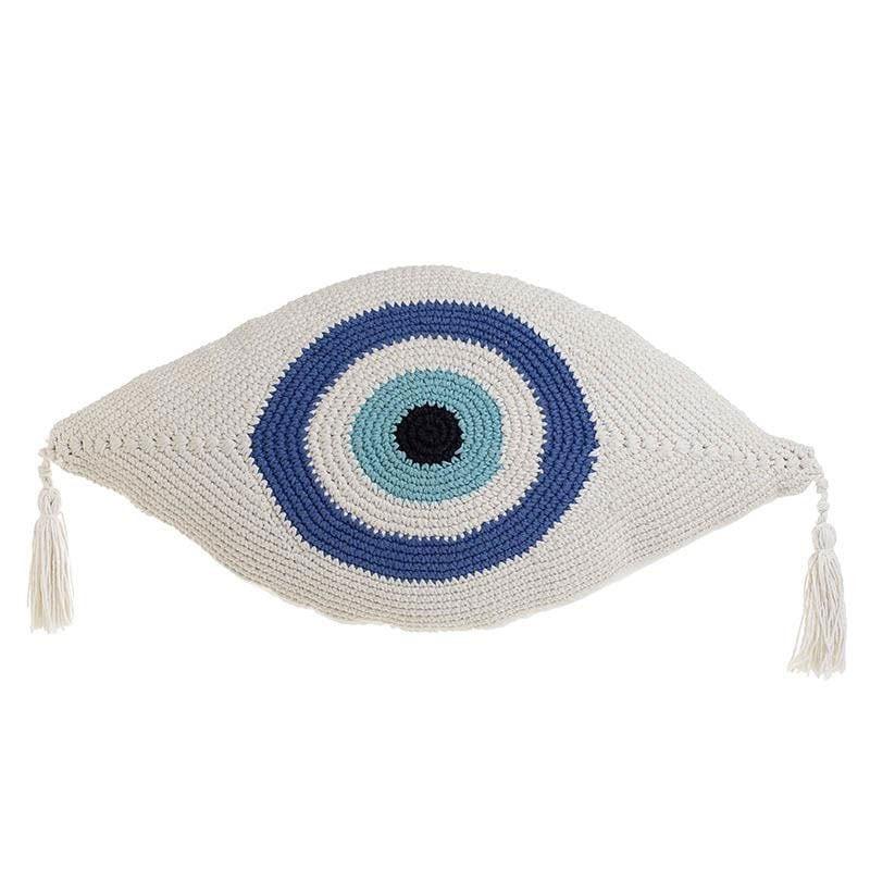 Μαξιλάρι Διακοσμητικό (Με Γέμιση) Μακραμέ Μάτι 3-40-826-0014 White-Blue Inart 40Χ60 Ύφασμα