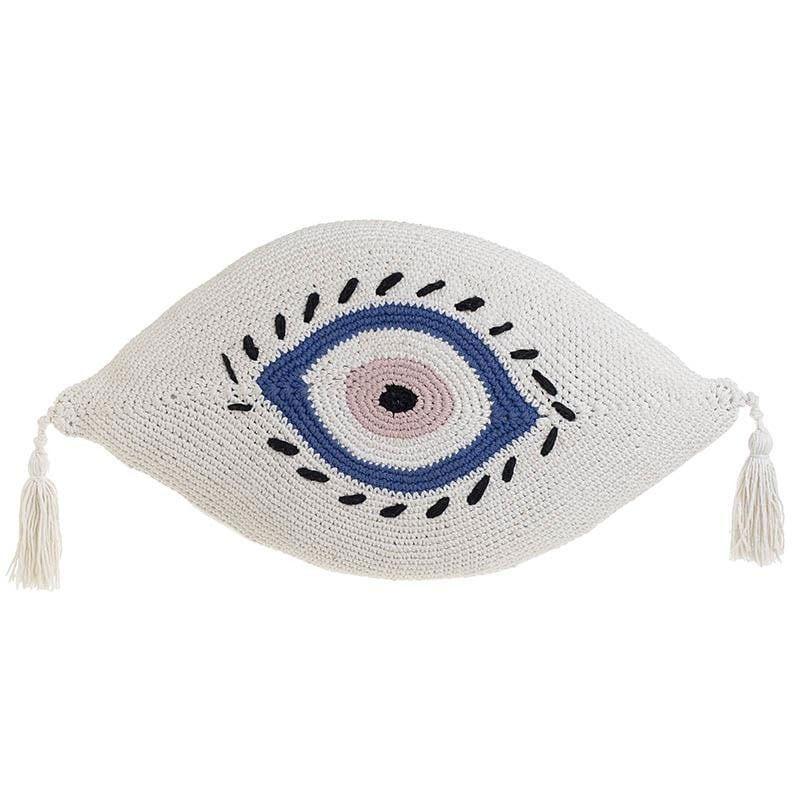 Μαξιλάρι Διακοσμητικό (Με Γέμιση) Μακραμέ Μάτι 3-40-826-0016 White-Blue Inart 40Χ60 Ύφασμα