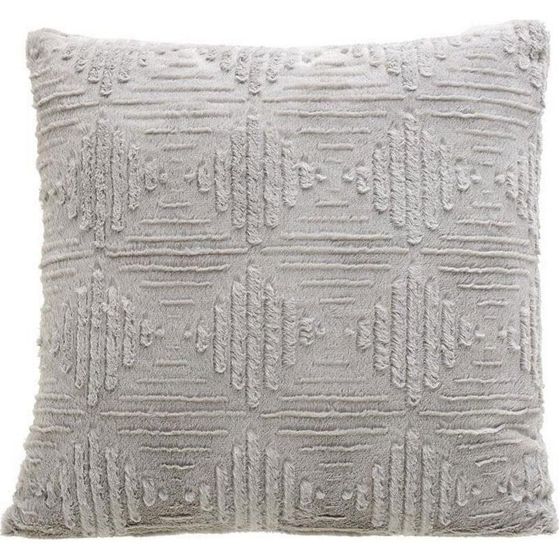 Μαξιλάρι Διακοσμητικό (Με Γέμιση) Συνθετική Γούνα 3-40-575-0461 Grey Inart 60X60 Γούνα