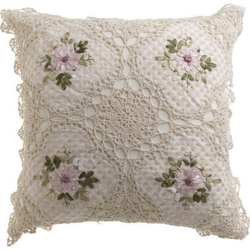 Μαξιλάρι Διακοσμητικό (Με Γέμιση) Λουλούδια 3-40-629-0009 Ecru Inart 40Χ40 Ύφασμα