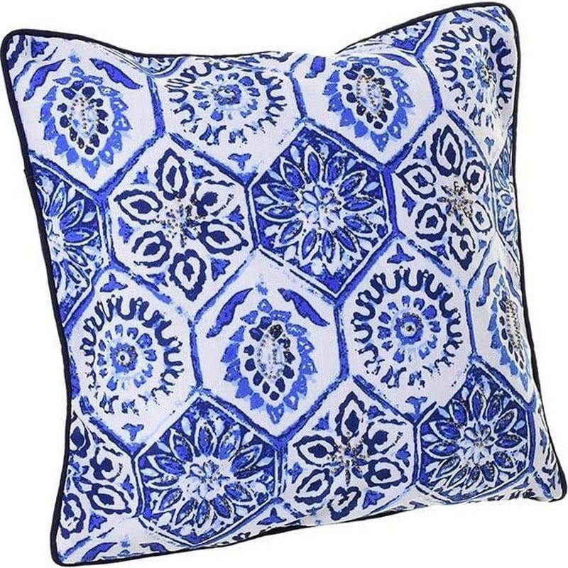 Μαξιλάρι Διακοσμητικό (Με Γέμιση) 3-40-086-0009 White-Blue Inart 45X45 Ύφασμα