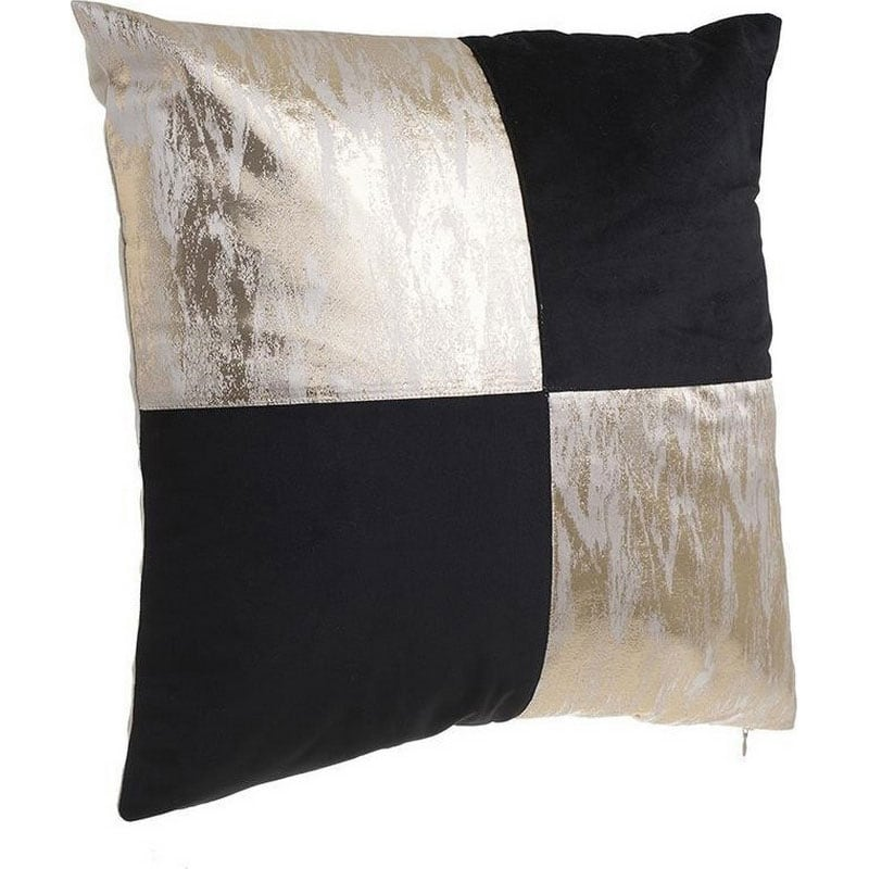 Μαξιλάρι Διακοσμητικό (Με Γέμιση) 3-40-865-0141 Black-Gold Inart 45X45 Ύφασμα