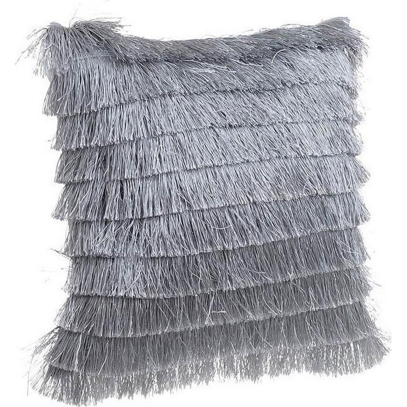 Μαξιλάρι Διακοσμητικό (Με Γέμιση) Κρόσσια 3-40-104-0139 Grey Inart 40Χ40 Ύφασμα