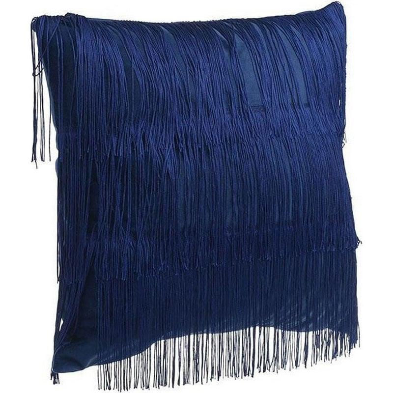 Μαξιλάρι Διακοσμητικό (Με Γέμιση) Κρόσσια 3-40-104-0130 Blue Inart 45X45 Ύφασμα