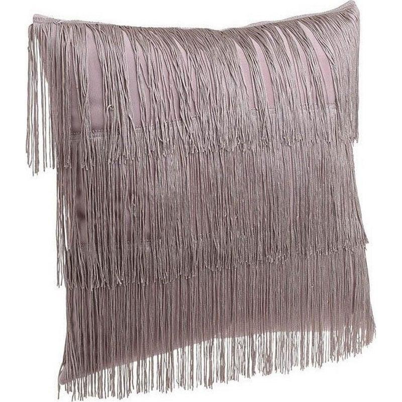 Μαξιλάρι Διακοσμητικό (Με Γέμιση) Κρόσσια 3-40-104-0132 Pink Inart 45X45 Ύφασμα
