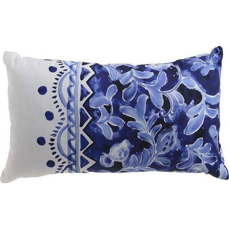 Μαξιλάρι Διακοσμητικό (Με Γέμιση) 3-40-105-0018 White-Blue Inart 30Χ50 Ύφασμα