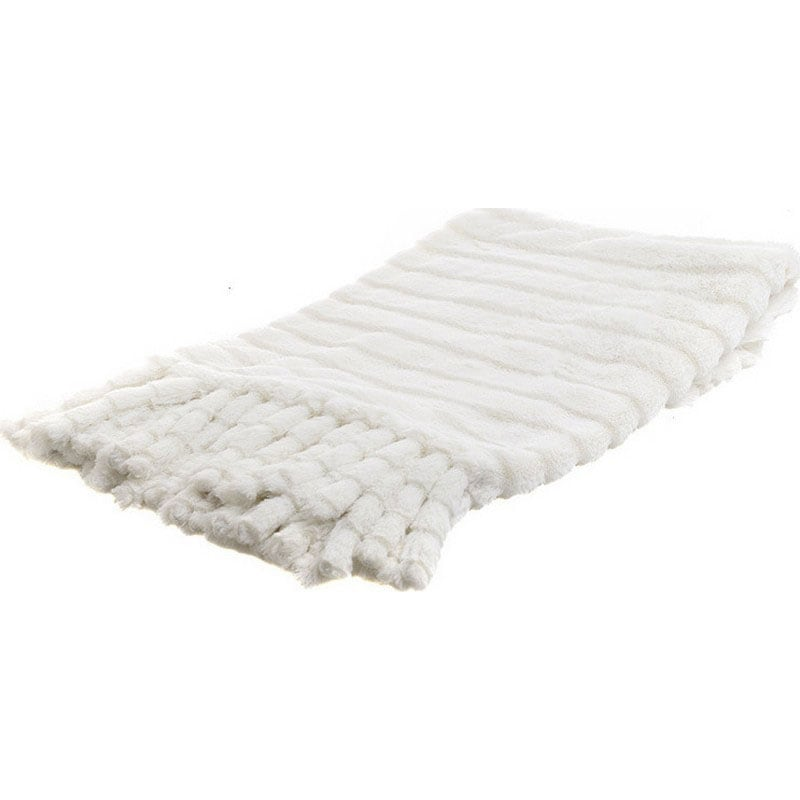 Ριχτάρι Συνθετική Γούνα Με Κρόσσια 3-40-575-0441 White Inart Πολυθρόνα 150x180cm