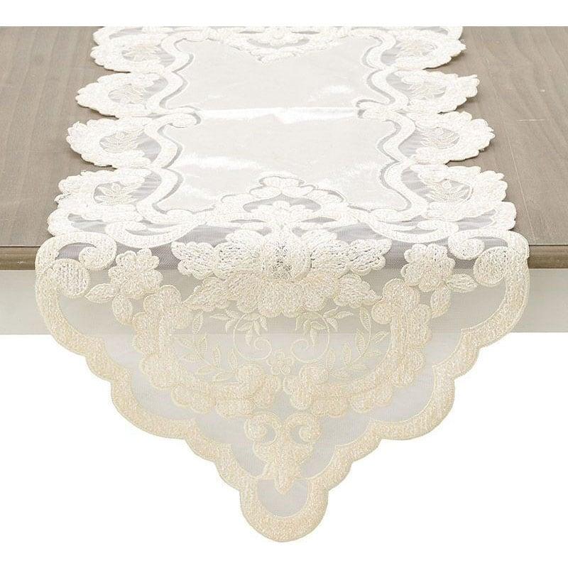 Τραβέρσα Με Δαντέλα 3-40-240-0073 Cream Inart 40Χ150 40x150cm