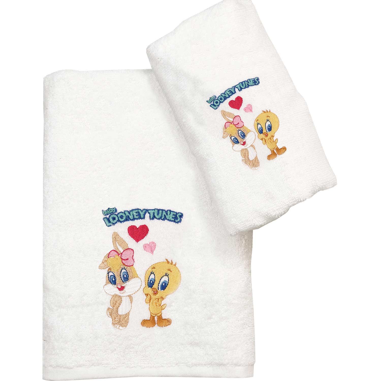 Πετσέτα Παιδική Σετ 2τμχ. Baby Looney Tunes 22 White Viopros Σετ Πετσέτες 70x140cm
