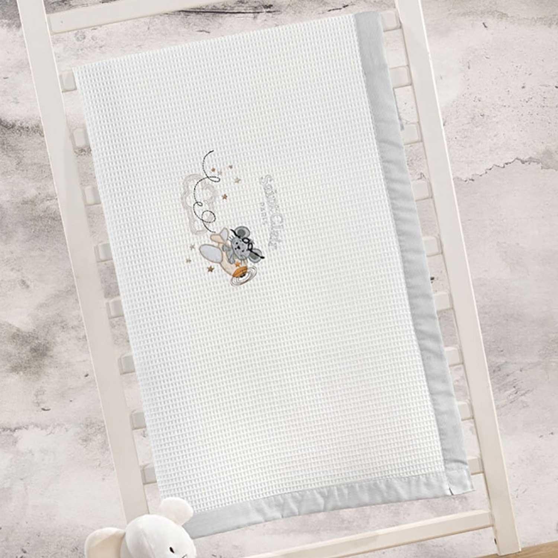 Κουβέρτα Βρεφική Πικέ Nosy White – Grey Saint Clair Κούνιας 110x150cm