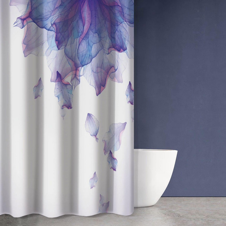 Κουρτίνα Μπάνιου Abstract Des 104 White – Purple Saint Clair 180x200cm Φάρδος 180cm 180x200cm