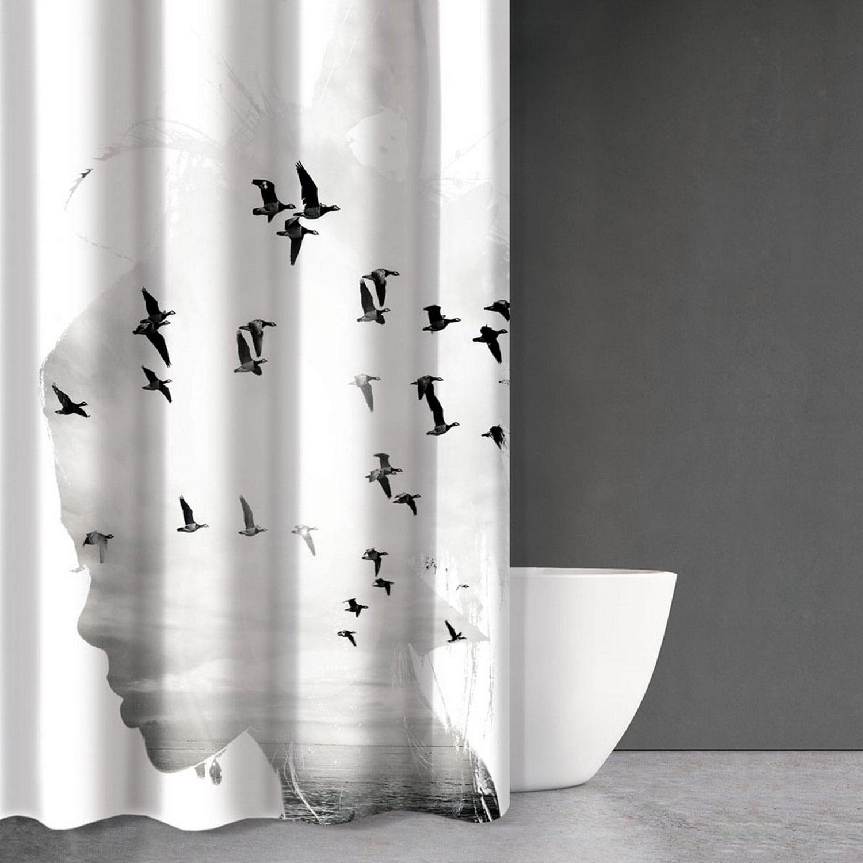 Κουρτίνα Μπάνιου Abstract Des 106 White – Black Saint Clair 180x200cm Φάρδος 180cm 180x200cm