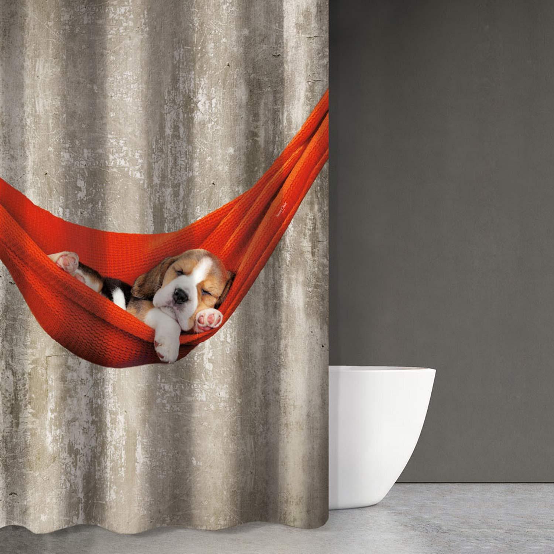 Κουρτίνα Μπάνιου Animals Des 201 Beige – Red Saint Clair 180x200cm Φάρδος 180cm 180x200cm
